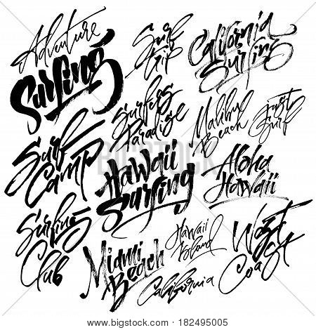 Set of Surfing Modern Calligraphy Hand Lettering for Silk Screen Print