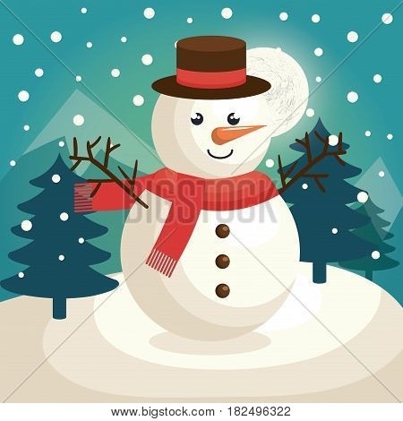 merry christmas snowman character vector illustration design