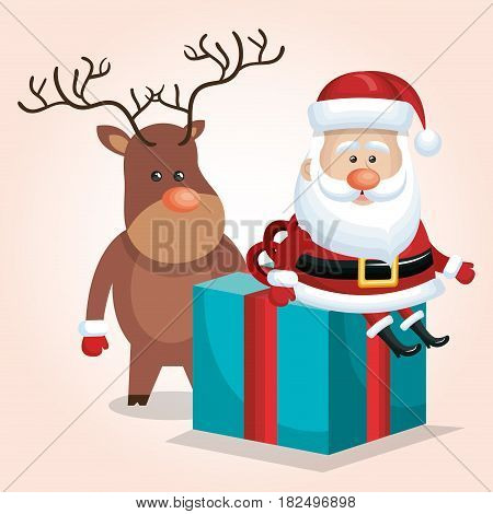 cute santa claus big gift with reindeer design vector illustration
