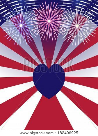Independence Day USA background with heart, firework.