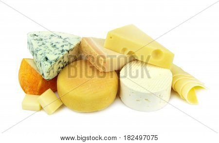Various cheese isolated on white background .