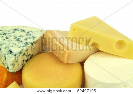 Various cheeses on white background close up image