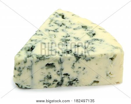 Blue cheese isolated on white background .