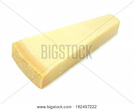 Parmesan cheese on white background close up image