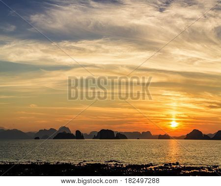 Scenary of Sunset at the sea.on twilight sky after sunset.
