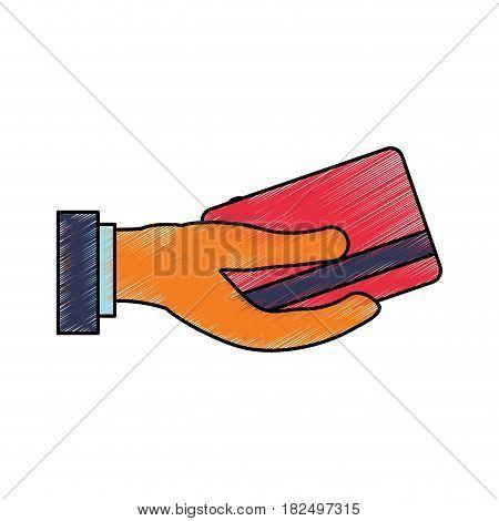 Bank credit card scribble icon vector illustration