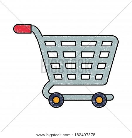 Shopping cart isolated scribble icon vector illustration