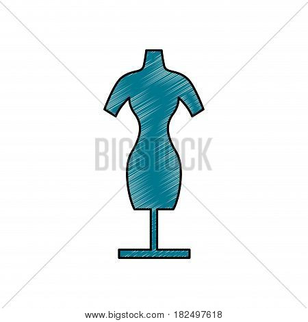 Manikin model clothes scribble icon vector illustration