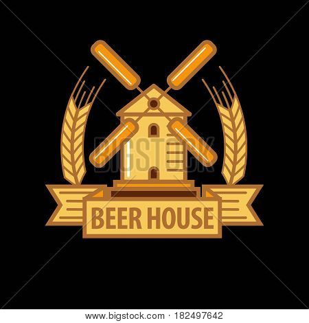 Vector illustration of the beer house emblem with windmill and cereal heads.