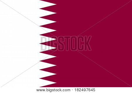 Qatar national flag, white triangles on maroon, symbolic element, patriotic symbol of country, flat vector illustration
