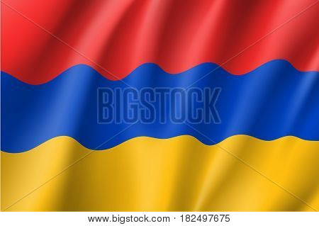 Armenia national flag, fluttering in the wind, horizontal tricolour, red, blue, yellow, educational and political concept, realistic vector illustration