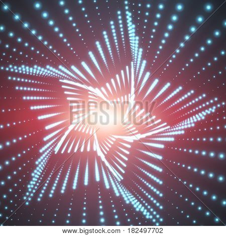 Vector infinite star twisted tunnel of shining flares on red background. Glowing points form tunnel sectors. Abstract cyber colorful background. Elegant modern geometric wallpaper.