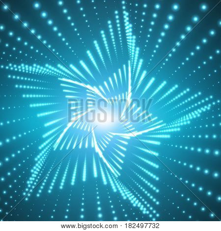 Vector infinite star twisted tunnel of shining flares on blue background. Glowing points form tunnel sectors. Abstract cyber colorful background. Elegant modern geometric wallpaper.