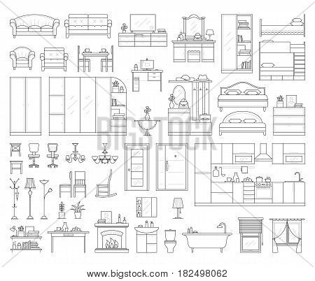 Vector icons set of house interior furniture. Collection in thin linear style. elements of kitchen, bathroom, bedroom, wardrobe and living room table, office desk and chair, lamp, sofa and bed.
