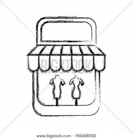 Shop store symbol draw icon vector illustration