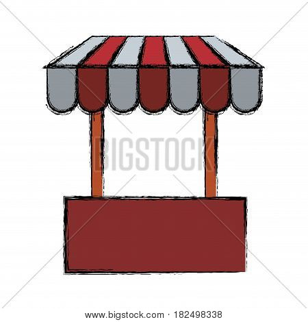 Shop store symbol scribble icon vector illustration