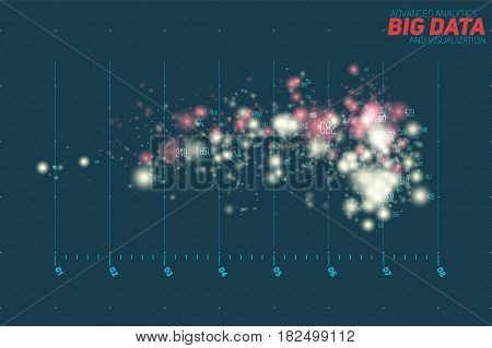 Vector abstract colorful big data point plot visualization. Futuristic infographics design. Visual information complexity. Intricate data threads graphic. Social network, financial analytics.