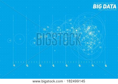 Vector abstract blue big data point plot visualization. Futuristic infographics design. Visual information complexity. Intricate data threads graphic. Social network, financial analytics.