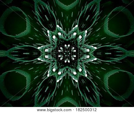 Abstract Extruded Mandala 3D Illustration 6 Sided Star