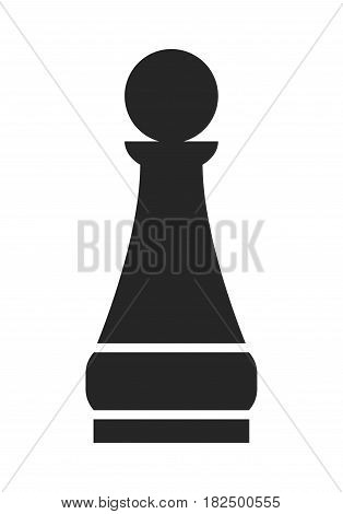 Pawn. Flat black icon, object of chess pieces. Vector
