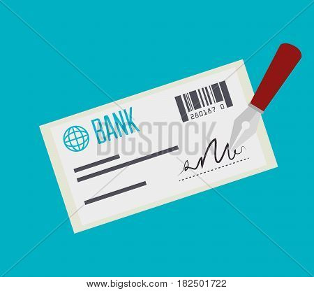 bank check payment isolated vector illustration eps 10