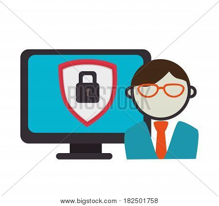avatar shield security technology icon grpahic isolated vector illustration eps 10