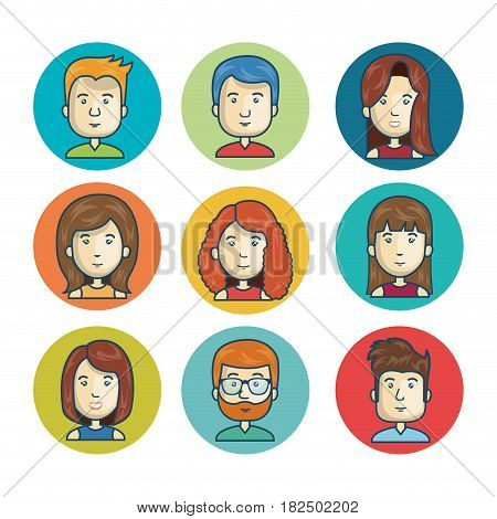 set faces character online community isolated vector illustration eps 10