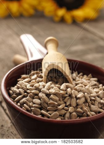Raw sunflower seeds in a red bowl with a wooden spoon healthy food or ingredients close up shot with selective focus