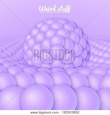 Vector abstract surface constructed from spheres sag under the big sphere. Light violet balls background. Conceptual splash backdop with spheres. Subatomic structure, nanotechnological image.