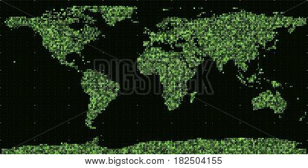 Vector abstract binary world map. Continents constructed from green binary numbers. Global information network. Worldwide network. International data. Digital world in modern cyber reality.