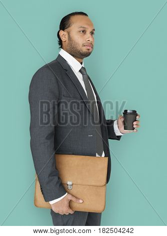 Indian Business Man Holding Bag and Coffee