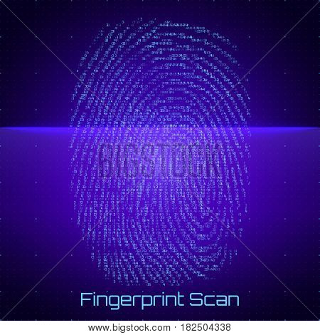 Vector abstract binary representation of fingerprint scan. Cyber thumbprint blue pattern composed of numbers. Biometric identity verification. Futuristic sensor scan image. Digital dactylogram.
