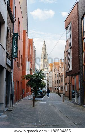 Antwerp Belgium - July 28 2016: Street in Antwerp at sunset. It is a city in Belgium in the region of Flanders. It has the biggest port in Belgium.
