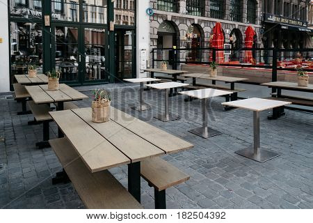 Antwerp Belgium - July 28 2016: Terrace of a restaurant in the Grote Markt of Antwerp. It is located in the heart of the old city quarter.