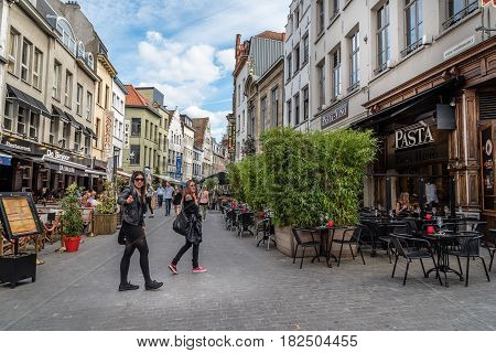 Antwerp Belgium - July 28 2016: People in pedestrian street in Antwerp. It is a city in Belgium in the region of Flanders. It has the biggest port in Belgium.