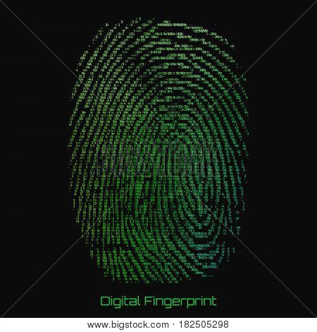 Vector abstract binary representation of fingerprint. Cyber thumbprint green pattern composed of numbers. Biometric identity verification. Futuristic sensor scan image. Digital dactylogram.
