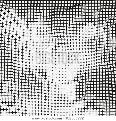 Monochrome vector background with distorted crosses. Black and white backdrop with collapsing lattice. Curved grid of plus signs. Simple geometric motive. Element of design.