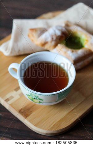 Breakfast With Tea And Puff With Kiwi Jam Good Morning