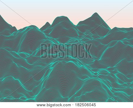 Wavy linear colorful procedural terrain. Striped digital extraterrestrial landscape. Trendy wireframe cybernetic mountains. Modern illustration for a background. Element of design.