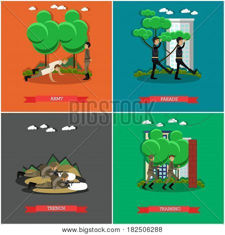 Vector set of military square posters. Army, Parade, Trench and Training flat style design elements.