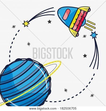rocket visiting to uranus planet in the galaxy, vector illustration