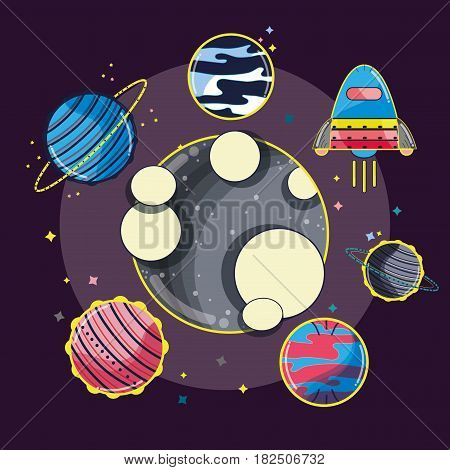 differents planets around the moon in the galaxy, vector illustration