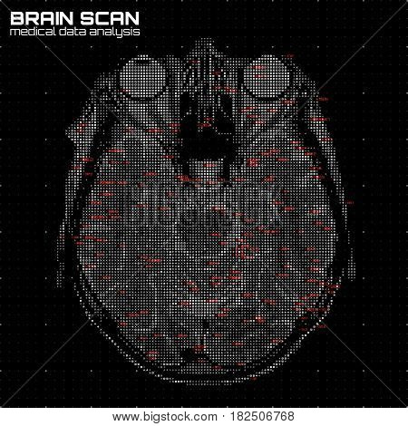 Vector grayscale abstract brain tomography analysis illustration. Digital brain x-ray scan. Medical data MRI visualization concept. Futuristic healthcare software HUD UI. Data driven image. Human head