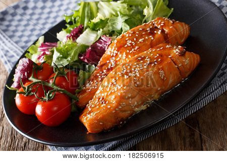Spicy Salmon In Honey Glaze And Fresh Vegetables Close-up. Horizontal
