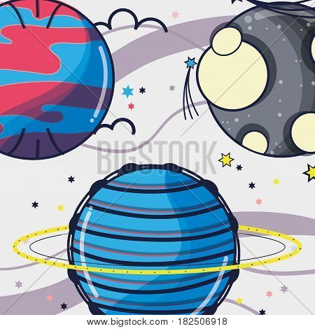 uranus and venus planets near to moon in the space, vector illustration