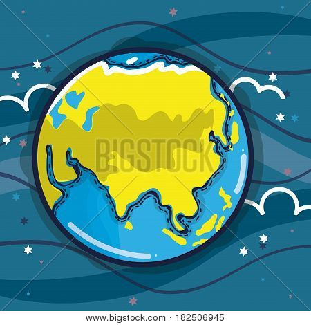 exploration earth planet in the galaxy space, vector illustration
