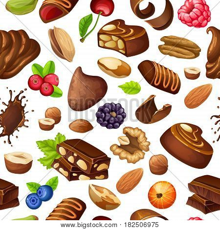 Cartoon chocolate seamless pattern with liquid blot candies whipped cream shavings berries and nuts vector illustration