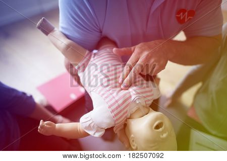 Group of people CPR First Aid Baby Training course