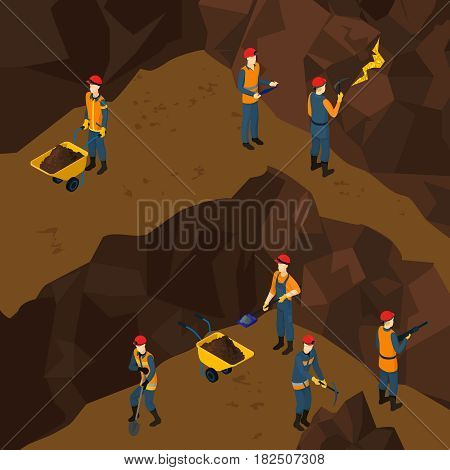 Isometric working miner people concept with shovel pickaxe drill wheelbarrow in mine vector illustration