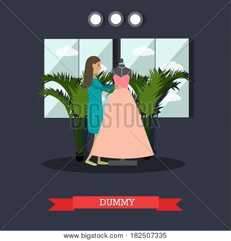 Vector illustration of dressmaker or clothing designer standing next to dummy dressed in new pink evening gown dress. Atelier, tailoring shop, fashion salon concept design element in flat style.